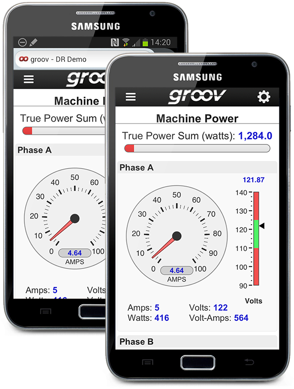 groov View in Browser and App on Android Smartphone