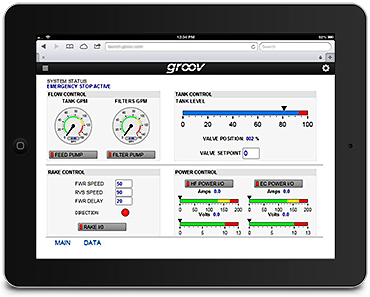 GG Services groov interface