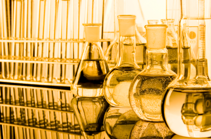 beakers and glassware in a lab