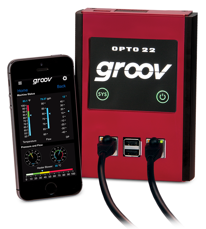 GROOV-AR1 groov Box and iPhone with mobile operator interface